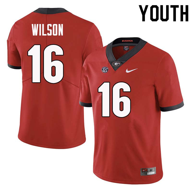 Youth Georgia Bulldogs #16 Divaad Wilson College Football Jerseys Sale-Red